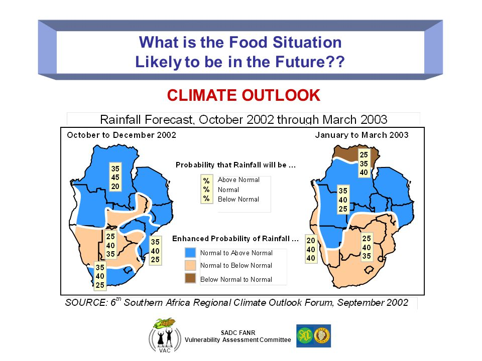 SADC FANR Vulnerability Assessment Committee VAC What is the Food Situation Likely to be in the Future?? CLIMATE OUTLOOK