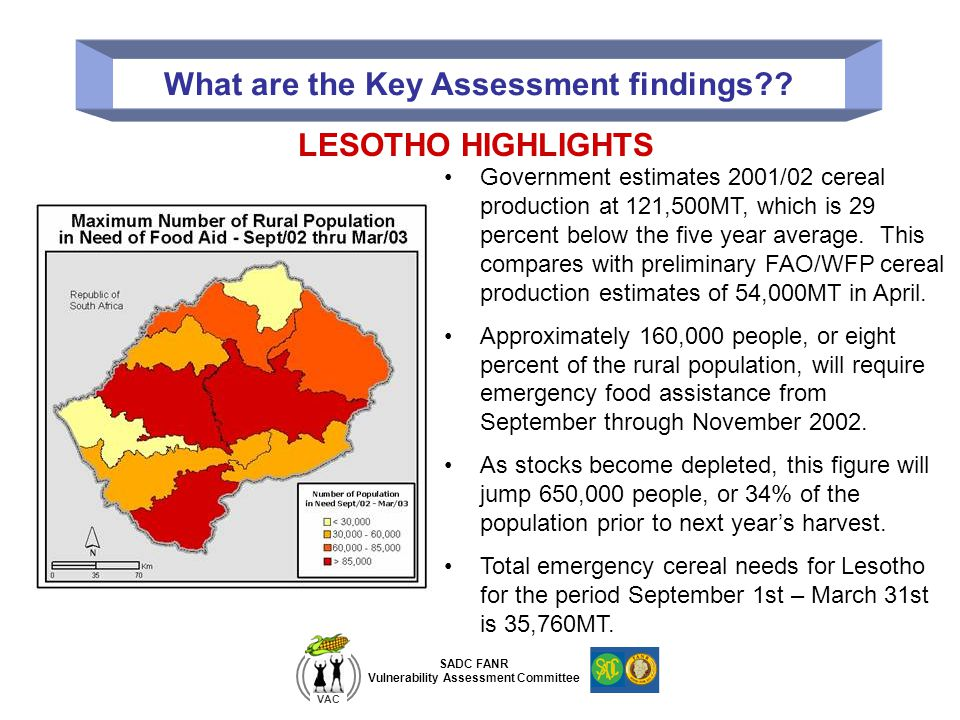 SADC FANR Vulnerability Assessment Committee VAC What are the Key Assessment findings?? Government estimates 2001/02 cereal production at 121,500MT, w