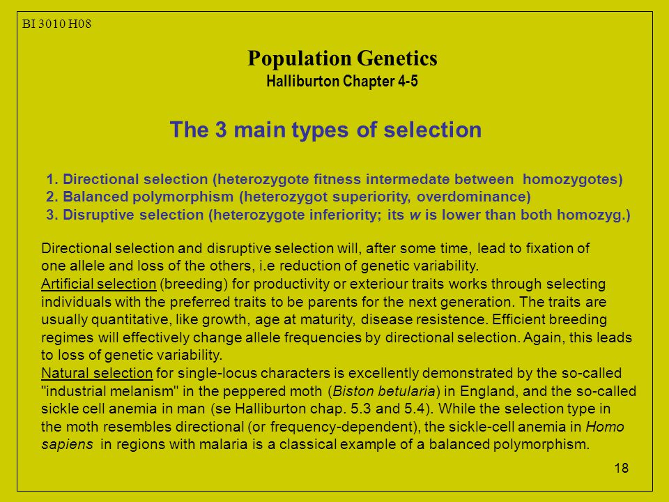 18 The 3 main types of selection 1.