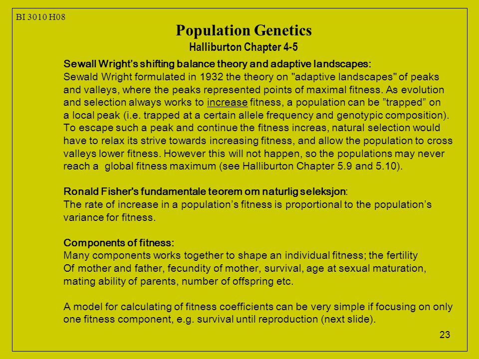 23 Sewall Wright's shifting balance theory and adaptive landscapes: Sewald Wright formulated in 1932 the theory on