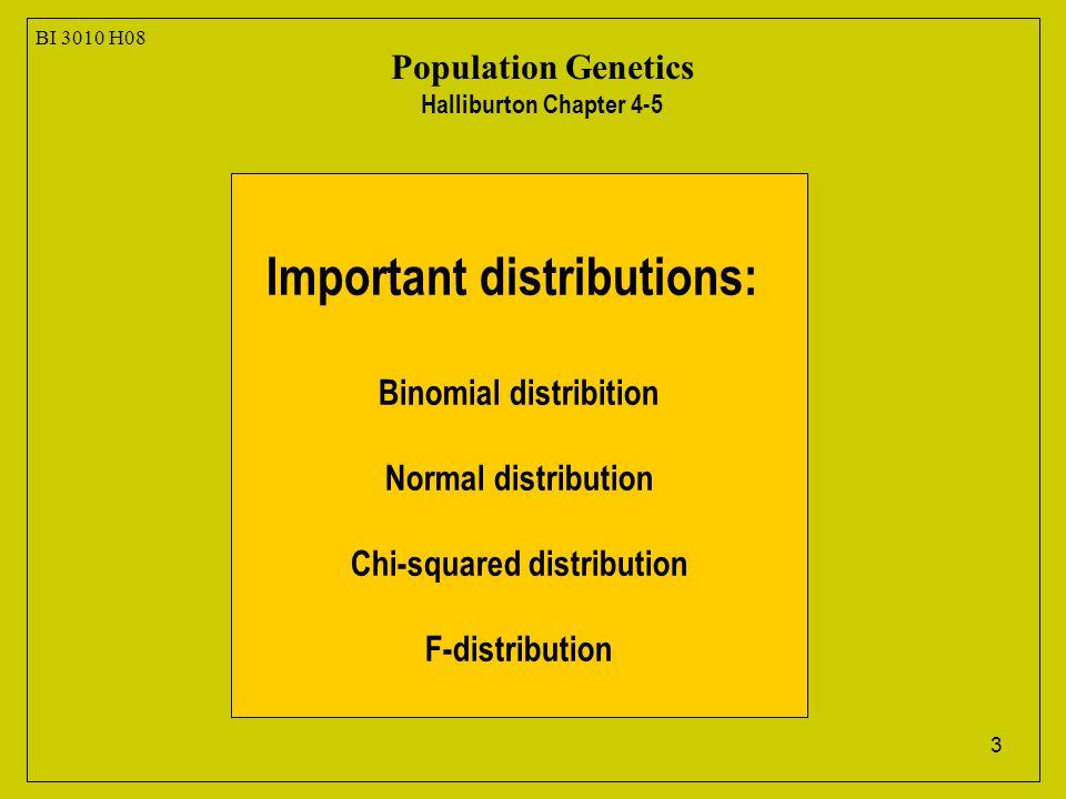 3 BI 3010 H08 Population Genetics Halliburton Chapter 4-5 Important distributions: Binomial distribition Normal distribution Chi-squared distribution
