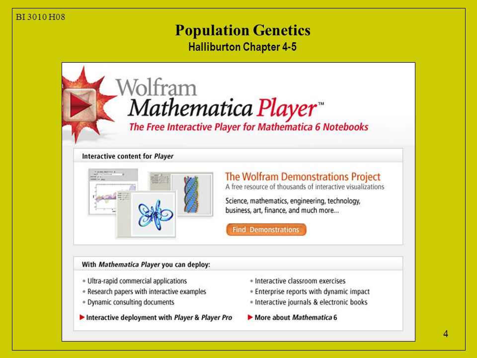 4 BI 3010 H08 Population Genetics Halliburton Chapter 4-5