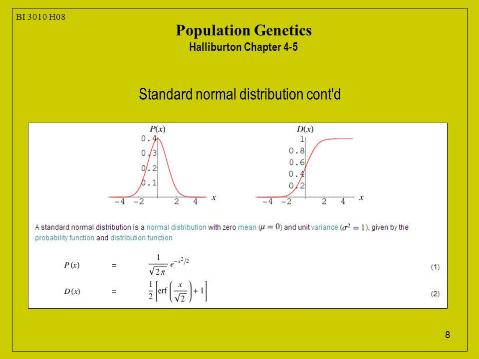 8 BI 3010 H08 Population Genetics Halliburton Chapter 4-5 Standard normal distribution cont d