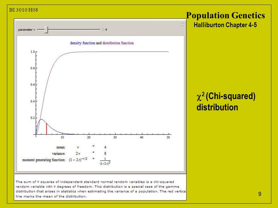 9 BI 3010 H08 Population Genetics Halliburton Chapter 4-5  2 (Chi-squared) distribution