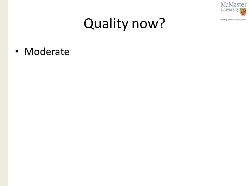 Quality now Moderate