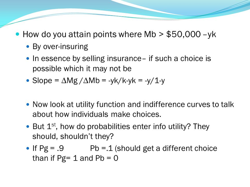 How do you attain points where Mb > $50,000 –yk By over-insuring In essence by selling insurance– if such a choice is possible which it may not be Slo