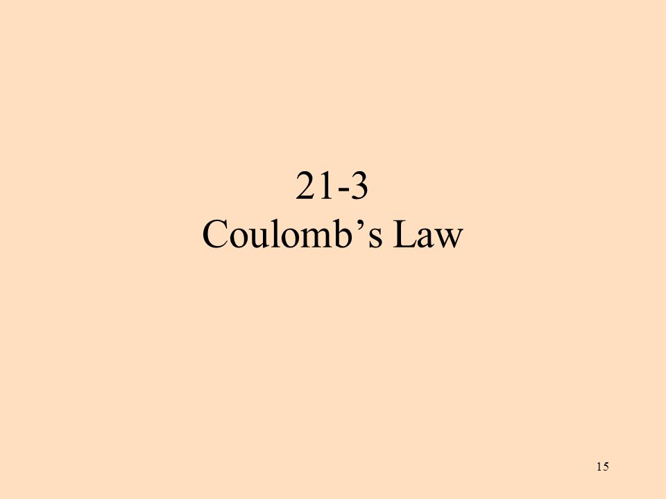 15 21-3 Coulomb's Law