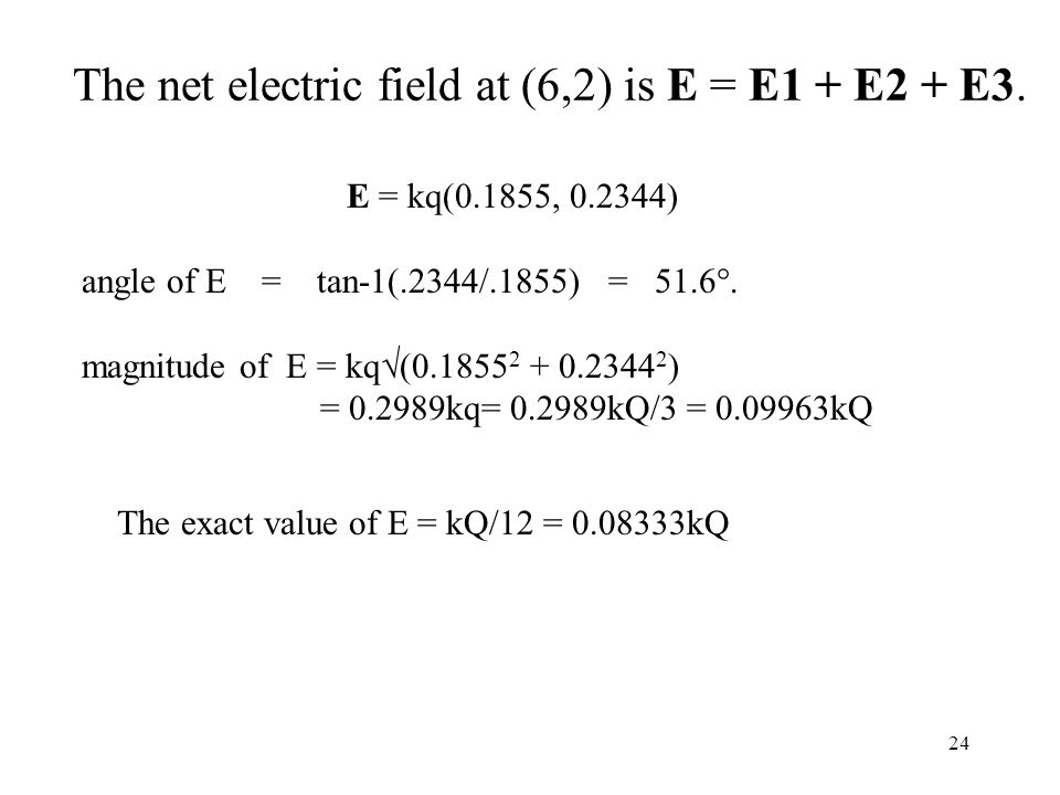 24 The net electric field at (6,2) is E = E1 + E2 + E3.