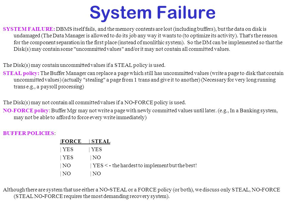 System Failure SYSTEM FAILURE: DBMS itself fails, and the memory contents are lost (including buffers), but the data on disk is undamaged (The Data Ma