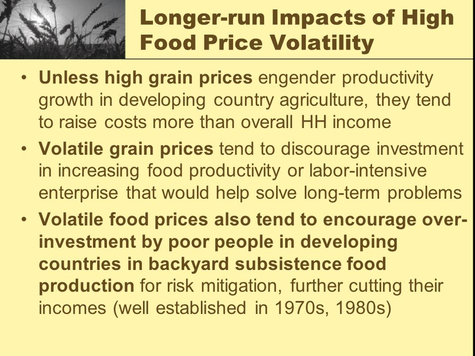 Longer-run Impacts of High Food Price Volatility Unless high grain prices engender productivity growth in developing country agriculture, they tend to raise costs more than overall HH income Volatile grain prices tend to discourage investment in increasing food productivity or labor-intensive enterprise that would help solve long-term problems Volatile food prices also tend to encourage over- investment by poor people in developing countries in backyard subsistence food production for risk mitigation, further cutting their incomes (well established in 1970s, 1980s)