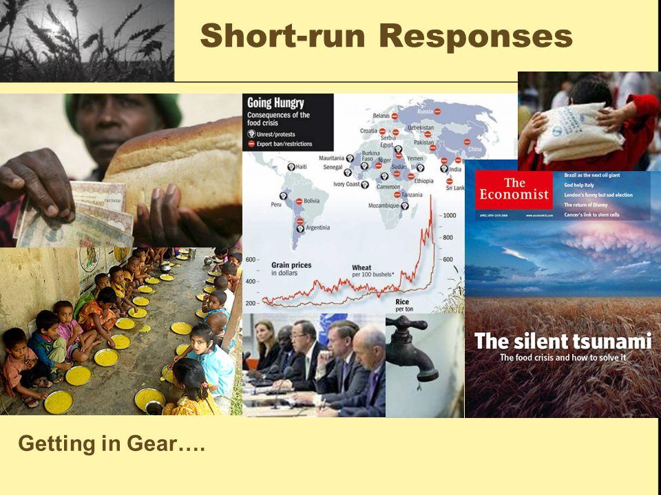 Short-run Responses Getting in Gear….