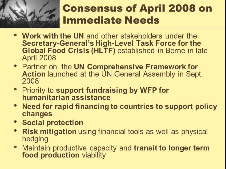 Consensus of April 2008 on Immediate Needs Work with the UN and other stakeholders under the Secretary-General's High-Level Task Force for the Global Food Crisis (HLTF) established in Berne in late April 2008 Partner on the UN Comprehensive Framework for Action launched at the UN General Assembly in Sept.