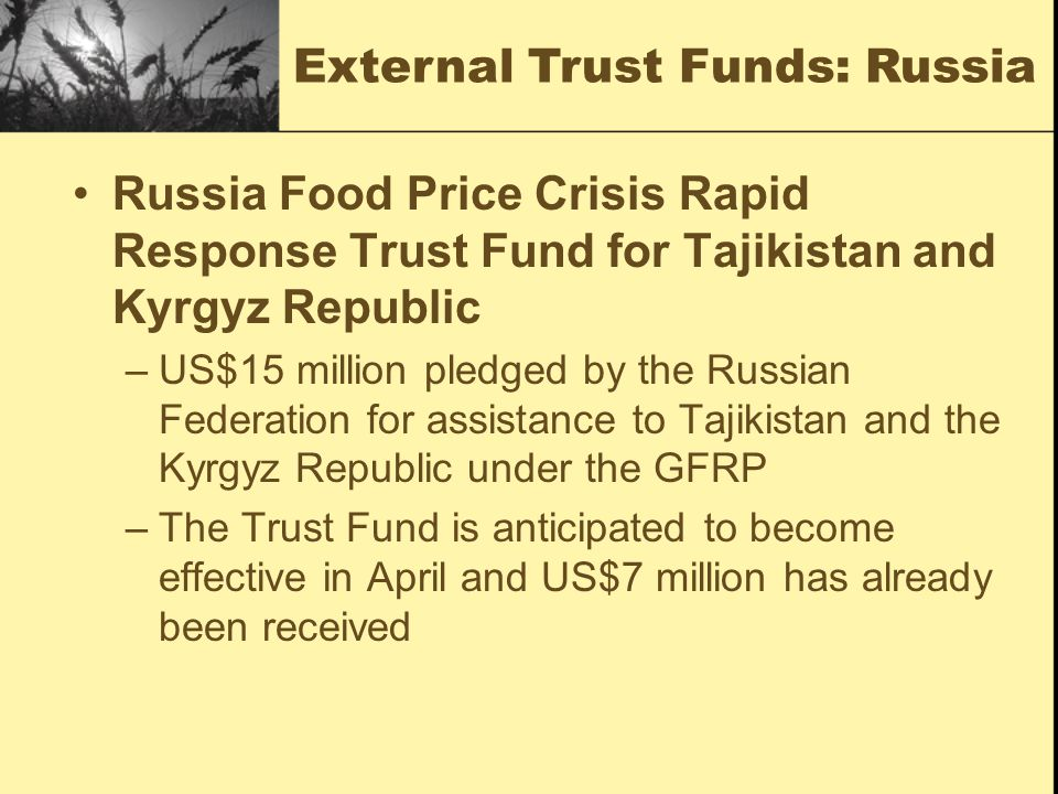 External Trust Funds: Russia Russia Food Price Crisis Rapid Response Trust Fund for Tajikistan and Kyrgyz Republic –US$15 million pledged by the Russian Federation for assistance to Tajikistan and the Kyrgyz Republic under the GFRP –The Trust Fund is anticipated to become effective in April and US$7 million has already been received