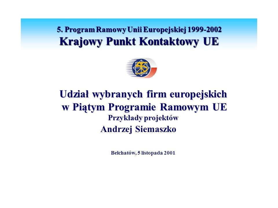 Udział wybranych firm europejskich w Piątym Programie Ramowym UE w Piątym Programie Ramowym UE Przykłady projektów Andrzej Siemaszko Bełchatów, 5 listopada 2001 5.