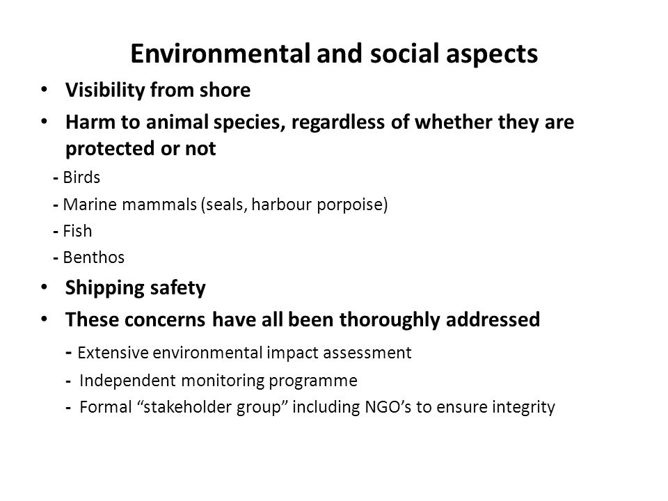 Environmental and social aspects Visibility from shore Harm to animal species, regardless of whether they are protected or not - Birds - Marine mammal