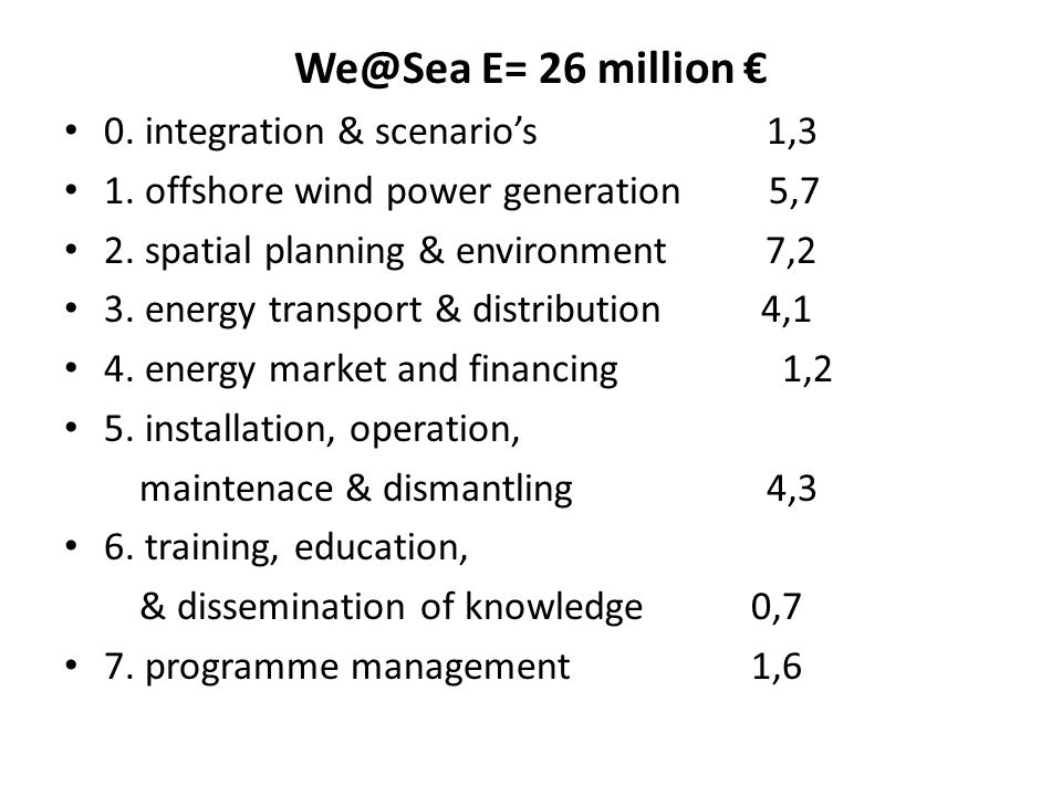We@Sea E= 26 million € 0. integration & scenario's 1,3 1. offshore wind power generation 5,7 2. spatial planning & environment 7,2 3. energy transport