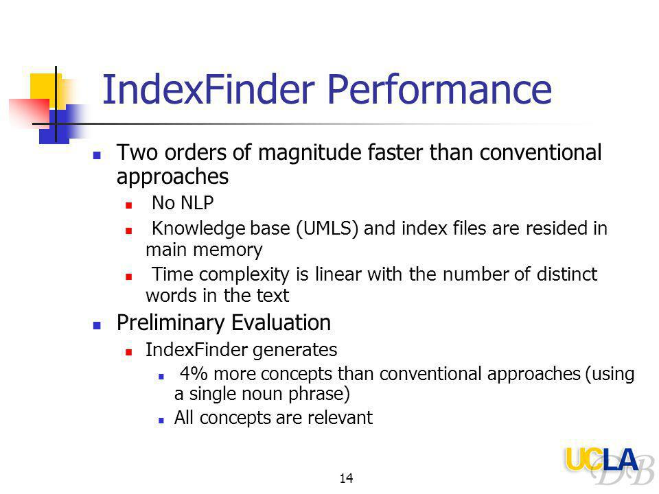 14 IndexFinder Performance Two orders of magnitude faster than conventional approaches No NLP Knowledge base (UMLS) and index files are resided in main memory Time complexity is linear with the number of distinct words in the text Preliminary Evaluation IndexFinder generates 4% more concepts than conventional approaches (using a single noun phrase) All concepts are relevant
