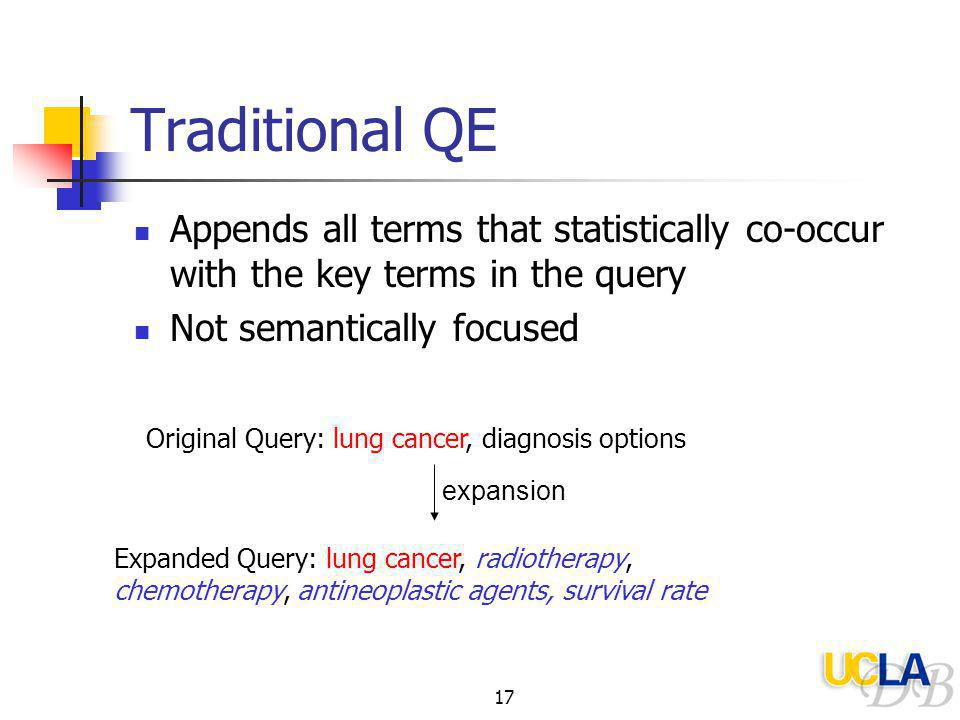 17 Traditional QE Appends all terms that statistically co-occur with the key terms in the query Not semantically focused Original Query: lung cancer, diagnosis options expansion Expanded Query: lung cancer, radiotherapy, chemotherapy, antineoplastic agents, survival rate