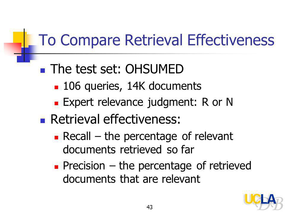 43 To Compare Retrieval Effectiveness The test set: OHSUMED 106 queries, 14K documents Expert relevance judgment: R or N Retrieval effectiveness: Recall – the percentage of relevant documents retrieved so far Precision – the percentage of retrieved documents that are relevant