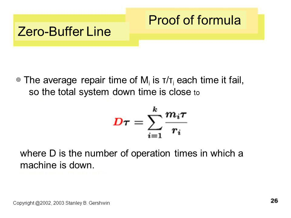 Copyright @2002, 2003 Stanley B. Gershwin Proof of formula Zero-Buffer Line ◎ The average repair time of M i is τ/τ i each time it fail, so the total