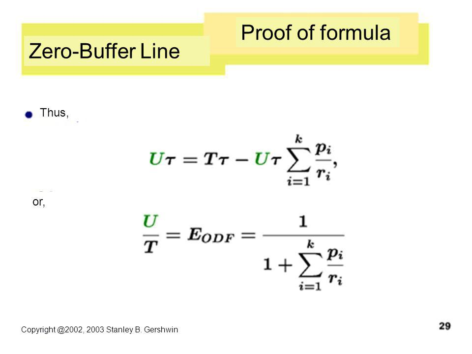 Copyright @2002, 2003 Stanley B. Gershwin Zero-Buffer Line Proof of formula Thus, or,