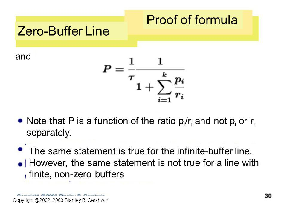 Copyright @2002, 2003 Stanley B. Gershwin Zero-Buffer Line Proof of formula and Note that P is a function of the ratio p i /r i and not p i or r i sep
