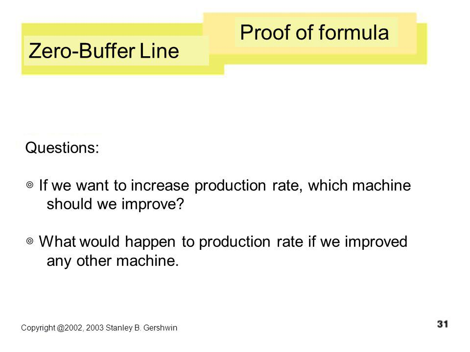Copyright @2002, 2003 Stanley B. Gershwin Zero-Buffer Line Proof of formula Questions: ◎ If we want to increase production rate, which machine should