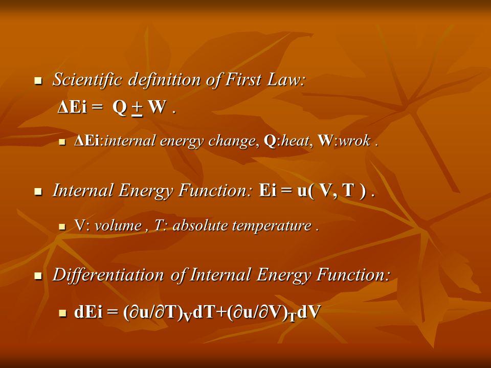 Scientific definition of First Law: Scientific definition of First Law: ΔEi = Q + W.