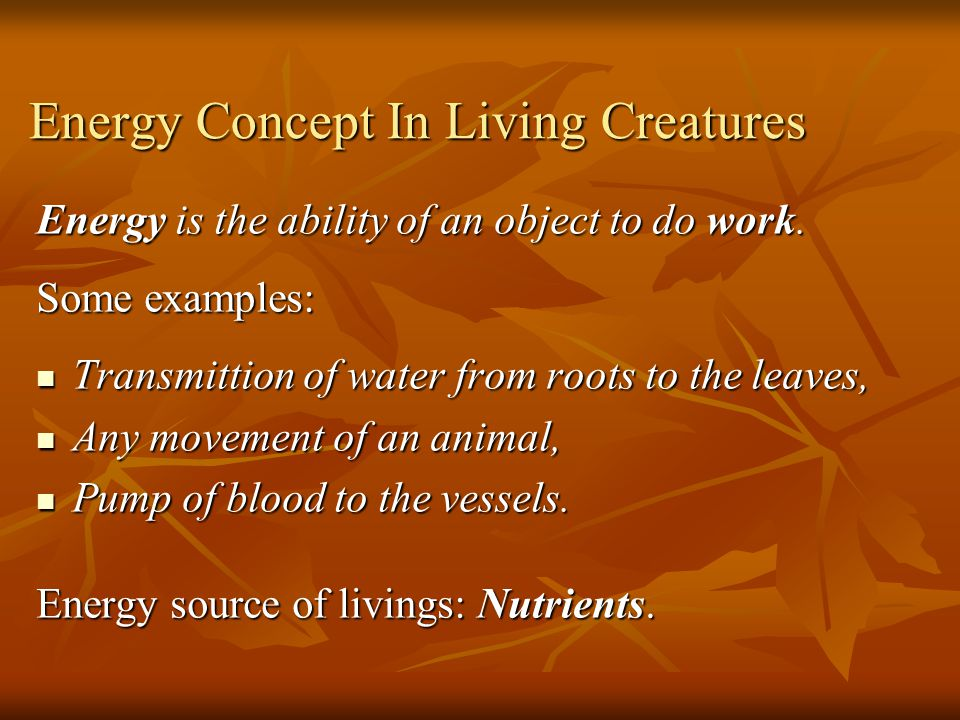 Energy Concept In Living Creatures Energy is the ability of an object to do work.