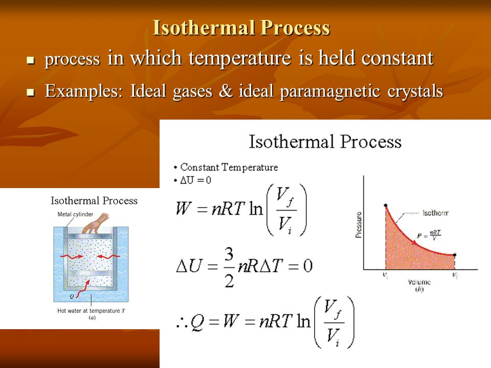 Isothermal Process process in which temperature is held constant process in which temperature is held constant Examples: Ideal gases & ideal paramagnetic crystals Examples: Ideal gases & ideal paramagnetic crystals