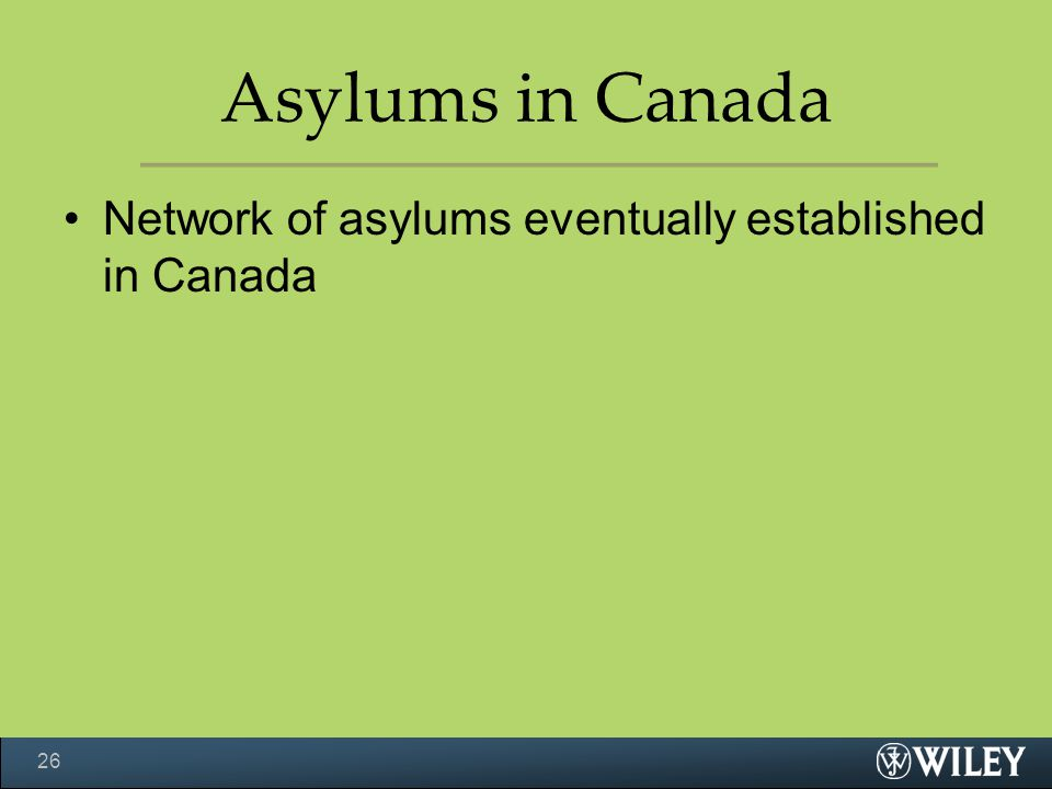 Asylums in Canada Network of asylums eventually established in Canada 26