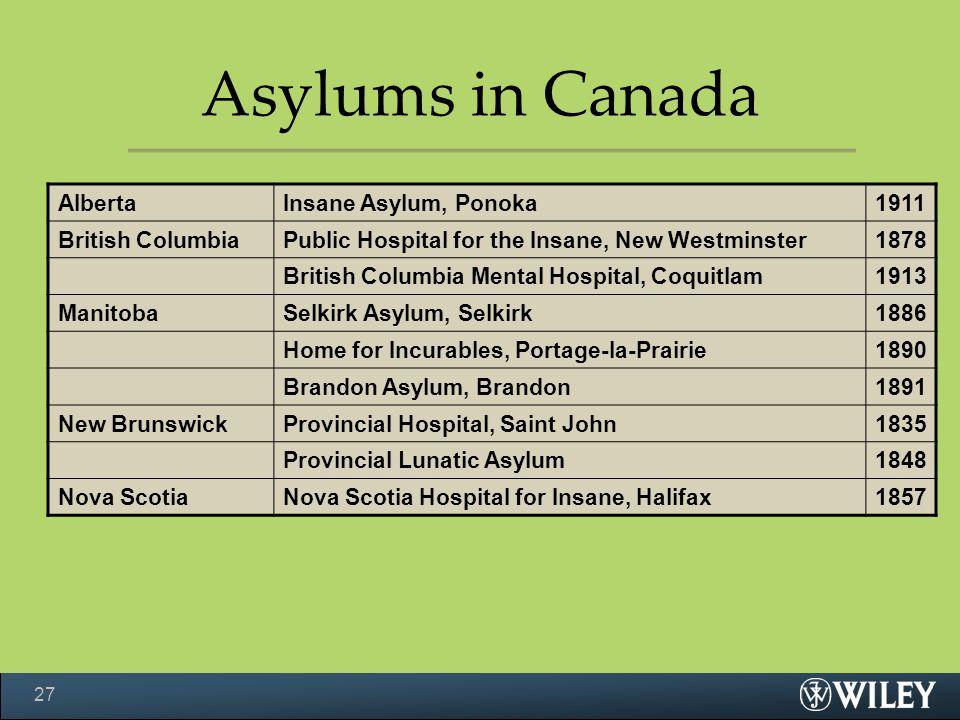 Asylums in Canada AlbertaInsane Asylum, Ponoka1911 British ColumbiaPublic Hospital for the Insane, New Westminster1878 British Columbia Mental Hospital, Coquitlam1913 ManitobaSelkirk Asylum, Selkirk1886 Home for Incurables, Portage-la-Prairie1890 Brandon Asylum, Brandon1891 New BrunswickProvincial Hospital, Saint John1835 Provincial Lunatic Asylum1848 Nova ScotiaNova Scotia Hospital for Insane, Halifax1857 27