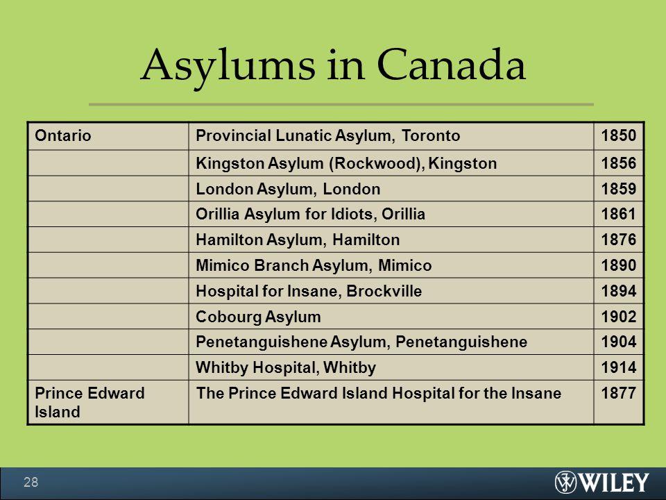OntarioProvincial Lunatic Asylum, Toronto1850 Kingston Asylum (Rockwood), Kingston1856 London Asylum, London1859 Orillia Asylum for Idiots, Orillia1861 Hamilton Asylum, Hamilton1876 Mimico Branch Asylum, Mimico1890 Hospital for Insane, Brockville1894 Cobourg Asylum1902 Penetanguishene Asylum, Penetanguishene1904 Whitby Hospital, Whitby1914 Prince Edward Island The Prince Edward Island Hospital for the Insane1877 Asylums in Canada 28
