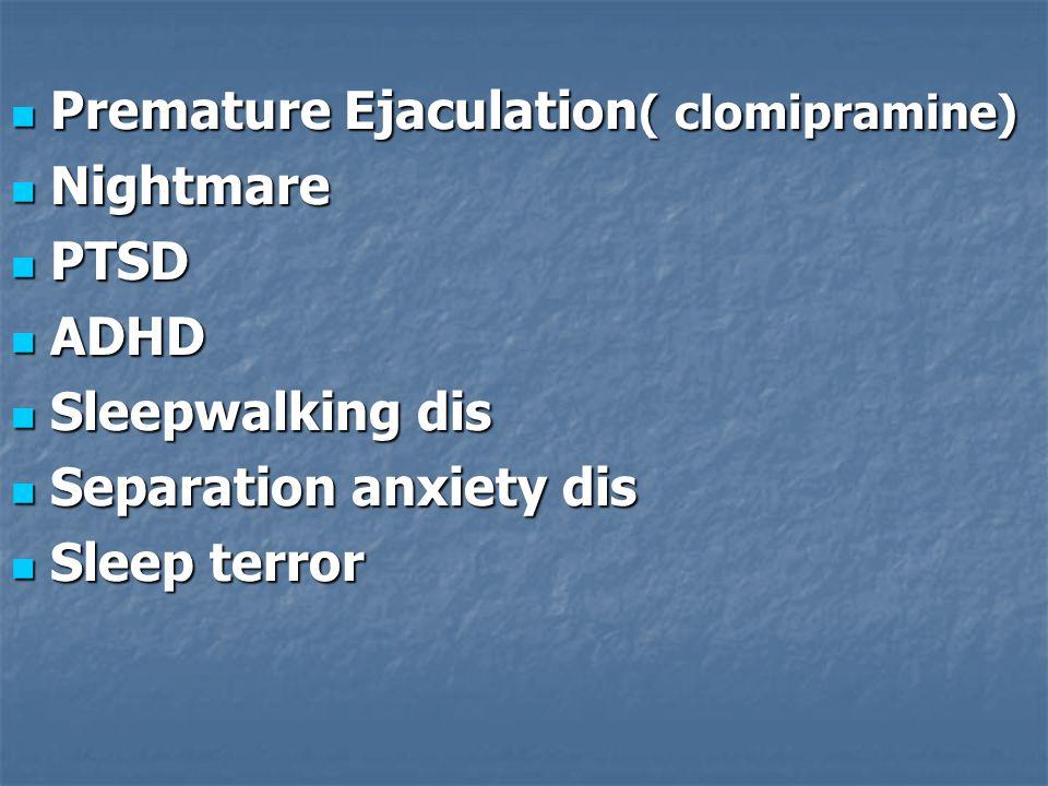 Panic dis ( Imipramine) Panic dis ( Imipramine) Generalized anxiety dis (doxepine) Generalized anxiety dis (doxepine) Obsessive – compulsive dis Obsessive – compulsive dis Clomipramine Clomipramine SSRIs SSRIs Eating dis (imipramine,desipramine) Eating dis (imipramine,desipramine) Pain dis Pain dis Enuresis (Imipramine) Enuresis (Imipramine) Peptic ulcer (doxepin) Peptic ulcer (doxepin) Narcolepsy Narcolepsy