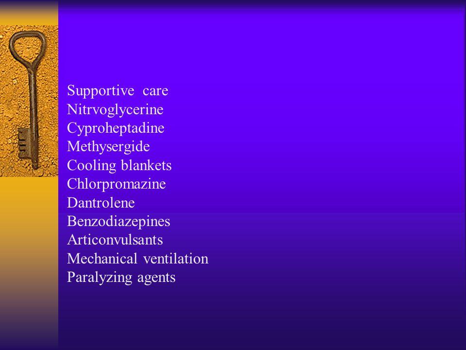  Myoclonus  Seizures  Hyperthermia  Shivering  Rigidity  Delirium  Coma  Status epilepticus  Cardiovascular collaps  Death