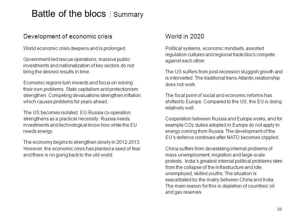 29 Development of economic crisis World economic crisis deepens and is prolonged.