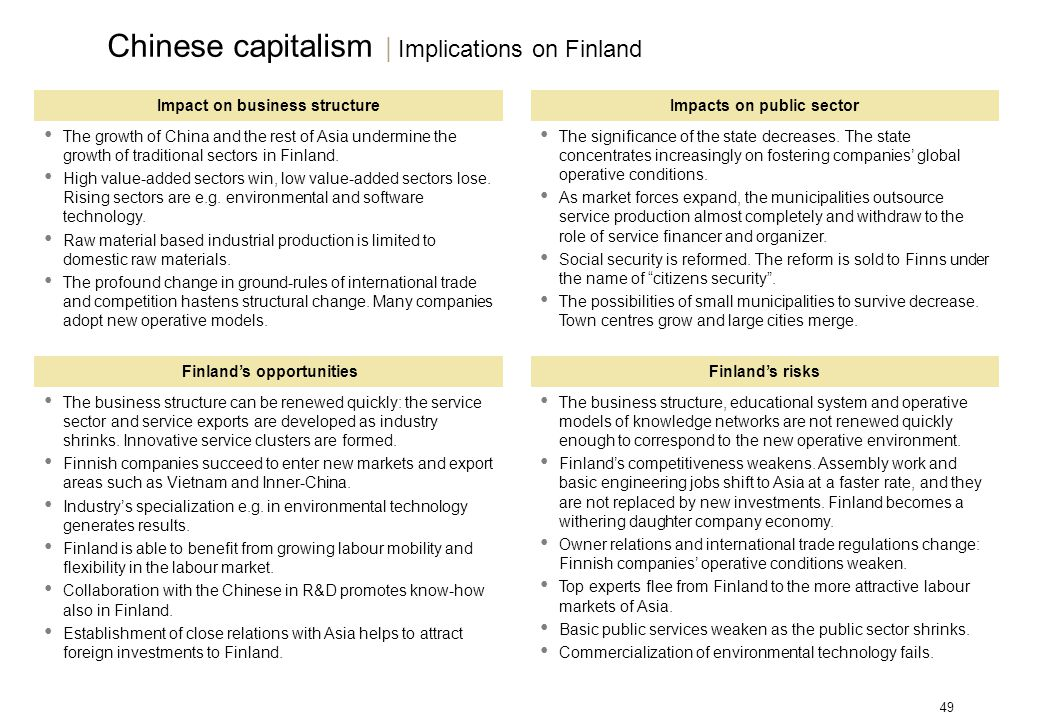 49 Impact on business structureImpacts on public sector The growth of China and the rest of Asia undermine the growth of traditional sectors in Finland.