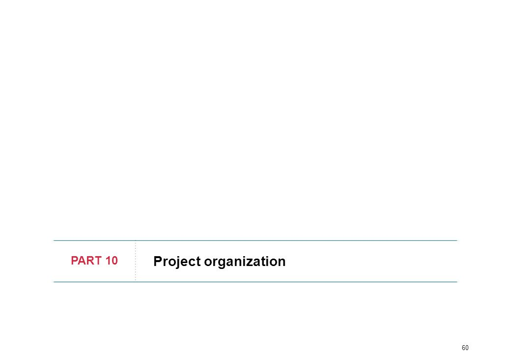 60 PART 10 Project organization