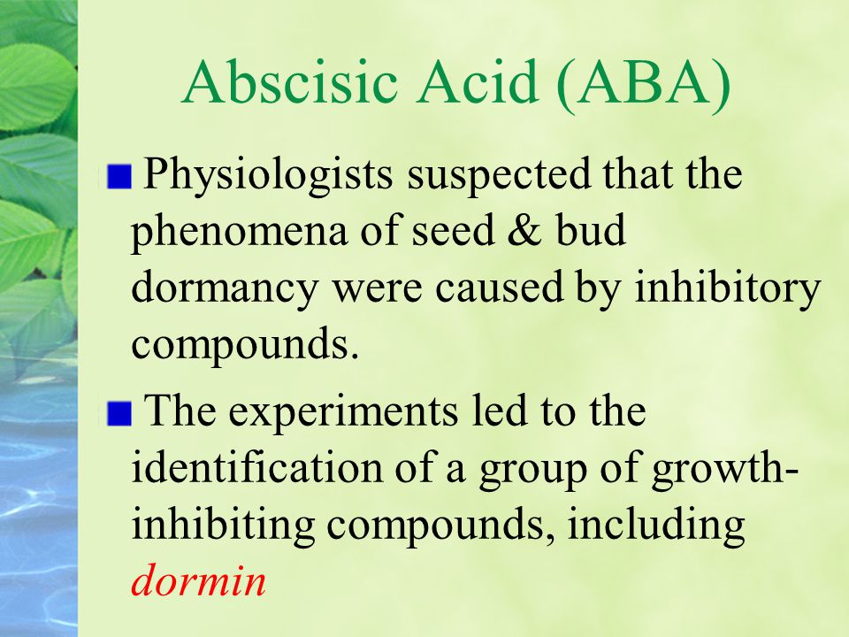 ABA is assayed by biological, physical, and chemical methods Avariety of bioassays have been used for ABA inhibition of coleoptile growth germination GA-induced α-amylase synthesis