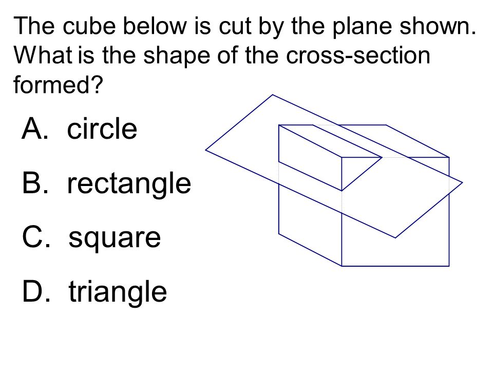 The cube below is cut by the plane shown. What is the shape of the cross-section formed? A. circle B. rectangle C. square D. triangle