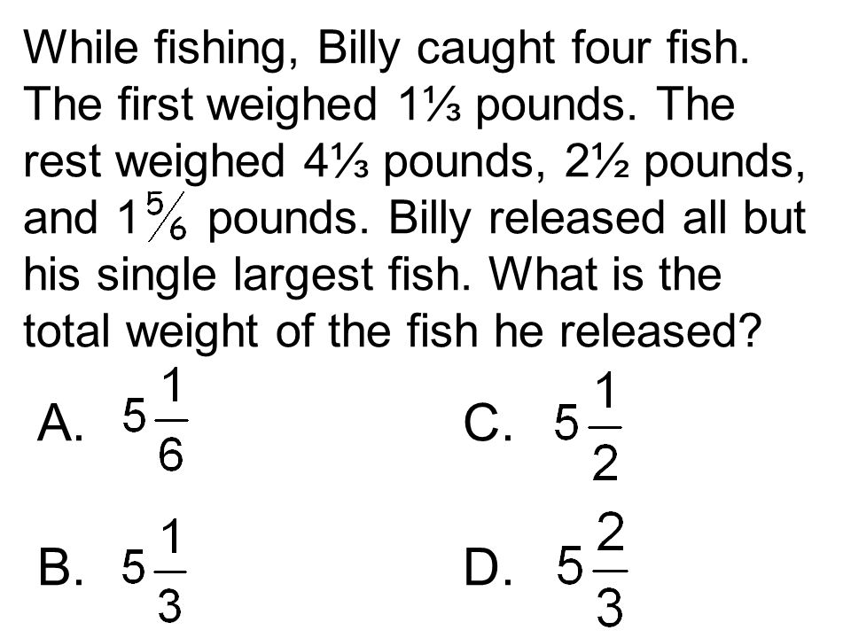 While fishing, Billy caught four fish. The first weighed 1⅓ pounds. The rest weighed 4⅓ pounds, 2½ pounds, and 1 pounds. Billy released all but his si