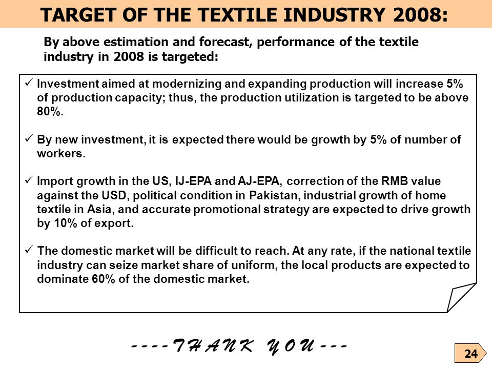 24 TARGET OF THE TEXTILE INDUSTRY 2008: By above estimation and forecast, performance of the textile industry in 2008 is targeted: Investment aimed at