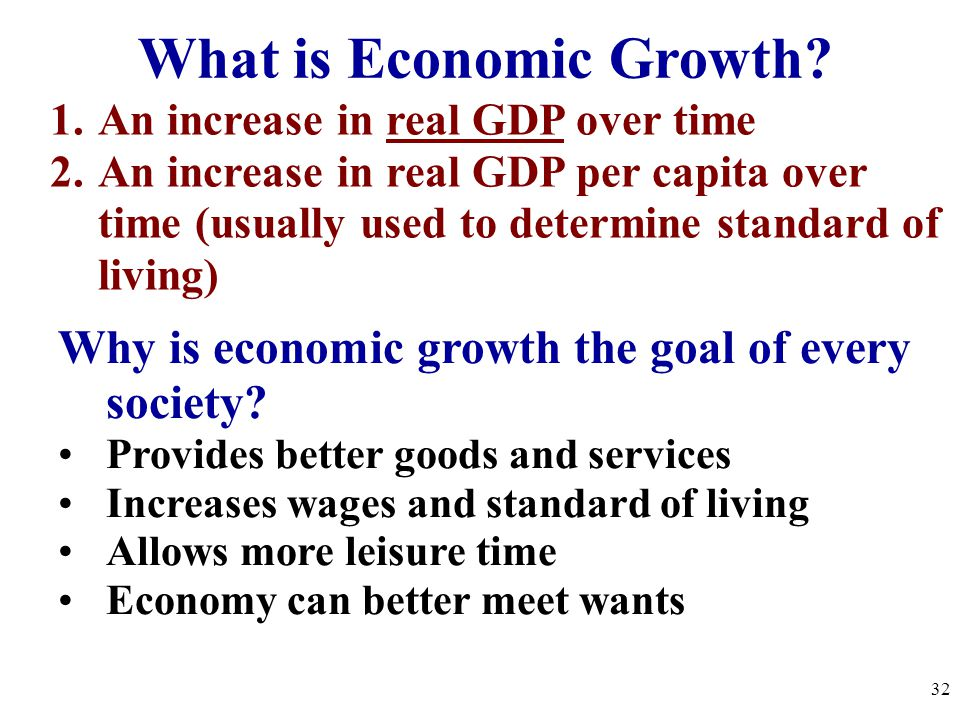 What is Economic Growth? 1.An increase in real GDP over time 2.An increase in real GDP per capita over time (usually used to determine standard of liv