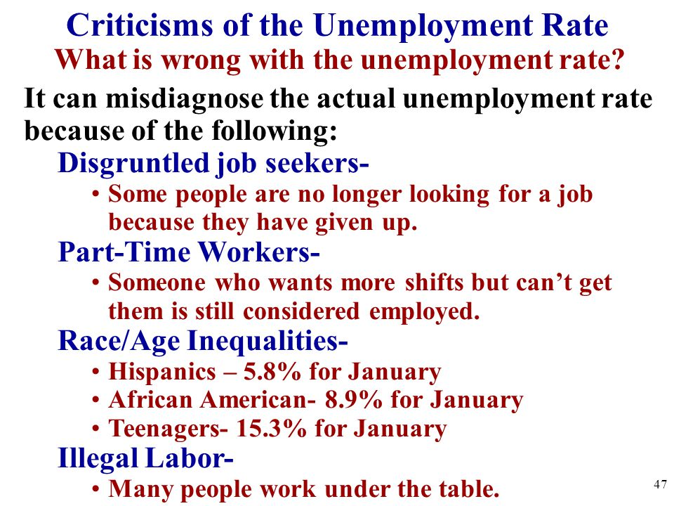 What is wrong with the unemployment rate? It can misdiagnose the actual unemployment rate because of the following: Disgruntled job seekers- Some peop