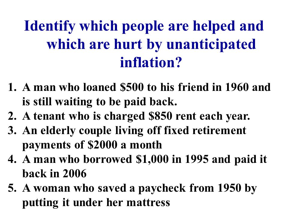 Identify which people are helped and which are hurt by unanticipated inflation? 1.A man who loaned $500 to his friend in 1960 and is still waiting to