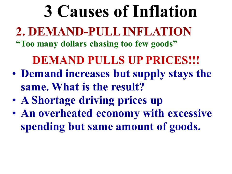"2. DEMAND-PULL INFLATION ""Too many dollars chasing too few goods"" DEMAND PULLS UP PRICES!!! Demand increases but supply stays the same. What is the re"