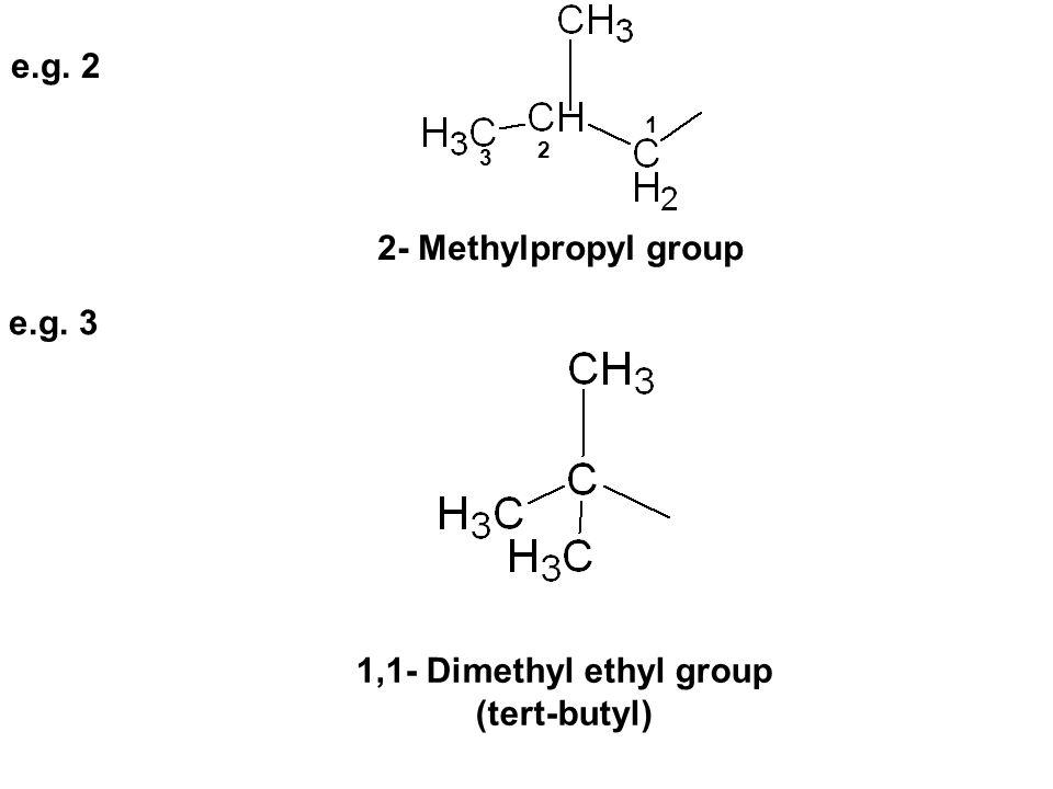 2 1 3 2- Methylpropyl group e.g. 3 e.g. 2 1,1- Dimethyl ethyl group (tert-butyl)