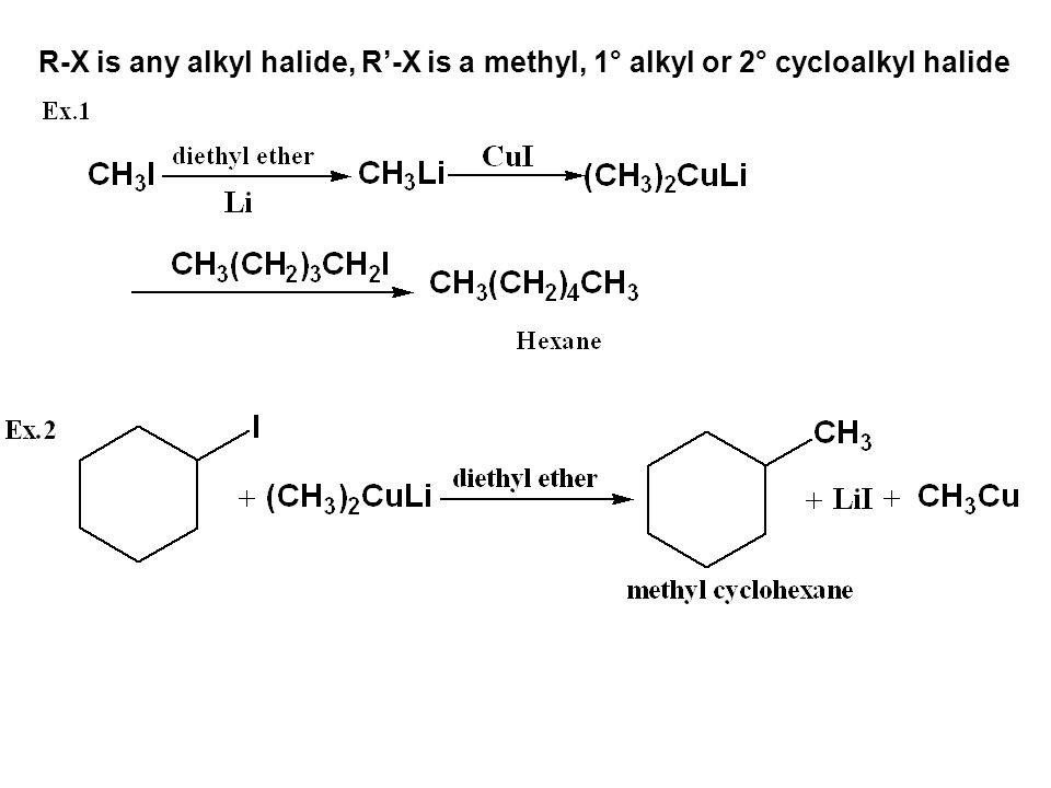 R-X is any alkyl halide, R'-X is a methyl, 1° alkyl or 2° cycloalkyl halide