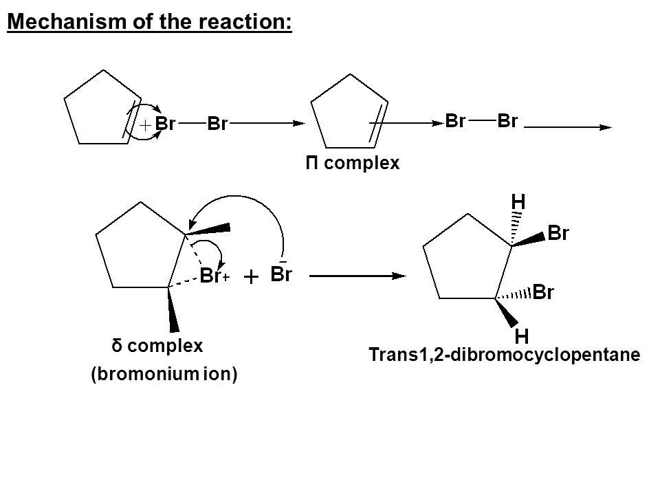 Mechanism of the reaction: Π complex δ complex (bromonium ion) Trans1,2-dibromocyclopentane