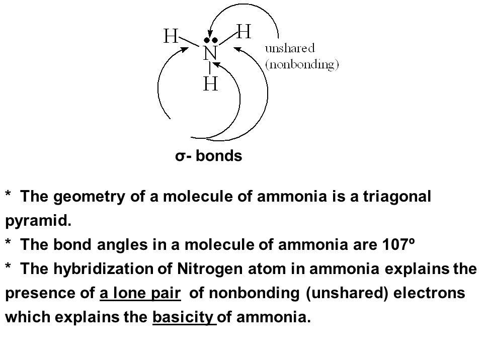 σ- bonds * The geometry of a molecule of ammonia is a triagonal pyramid. * The bond angles in a molecule of ammonia are 107º * The hybridization of Ni